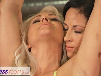 Fitness Rooms Busty blonde milf and fit mature lesbian