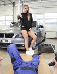Rough Sex with a Sporty Babe at the Car Shop