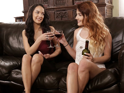 Stunning Adria Rae is lounging on the couch with a glass of wine when her girlfriend Sofi Ryan comes in from a long day of work. Pouring Sofi a glass of wine, Adria lets her love know that she has an even better way to help her relax. The redhead makes sure the glasses are safe from being knocked over, then trails lingering touches down Sofi's arms and legs. Leaning in for a kiss that gives her all the permission she needs, Adria considers what she's going to do next with the feminine feast before her.Pulling Sofi's shirt up to set her big boobs free, Adria leans in to lap at the puffy nipples with her soft tongue until they harden to attention. When she is through giving each of Sofi's breasts the attention they deserve, Adria continues her journey south to settle between her girlfriend's thighs. Licking and nipping at each inner thigh, Adria gently spreads Sofi's legs until her miniskirt rides up and her panties are easily visible beneath.It's a simple thing for Adria to push Sofi's underwear aside and run her fingers down her love's gleaming slit. Moaning as her juices are spread everywhere, Sofi lets one hand creep to her tit while the other winds in Adria's hair to urge her face down. Adria is happy to oblige, slipping her tongue into the heart of Sofi's pleasure before moving up to focus on her clit.When Sofi gets on her hands and knees, the position offers Adria even better access to her dusky-skinned lover's body. Peeling Sofi's underwear off with her teeth is just the beginning as Adria buries her face between her girlfriend's ass cheeks and slips her tongue out to tease Sofi's anus. All the while, Adria's hands work overtime smoothing over Adria's ass and thighs and then slipping higher to rub her clit.Adjusting her position so she can kiss her way up Sofi's back and return to the delight of her bigtit lover's bosom, Adria keeps one hand planted on Sofi's snatch. Her fingers make magic, plumbing Sofi's fuck hole and stimulating her clit. Adria's knowing fingers give her girlfriend all the help she needs to find a relaxing climax that leaves her finally unwound from a hard day of work.Ready to pursue her own pleasure while she helps Sofi build to another orgasm, Adria peels off her clothes. Then she settles herself so she rests pussy to pussy with Sofi so the girls can press their hips together in a mutually delightful rhythm. That sensation is nice, but what Adria really wants is to resume her feast of Sofi's snatch. To that end, she arranges her own fuck hole over Sofi's mouth and then leans forward to complete a lesbian 69.Adjusting so that she's sitting on the arm of the couch, Adria gasps with sheer lust as Sofi takes position between her parted thighs and started licking. Soft and gentle with her tongue, Sofi explores every one of Adria's folds before honing in on the bundle of nerves that will really drive Adria wild.The girls are both reaching peak satisfaction, but neither of them is willing to give up quite yet. Sofi finds herself wrapped in Adria's arms as the redhead reaches down with one hand to play her tender titties. The other hand takes a longer journey to tweak Sofi's clit in a move that sends her over the edge almost instantly. Intent on giving as good as she has just gotten, Sofi once again goes to work with her magic mouth and talented fingers until Adria spasms with the force of her final climax.
