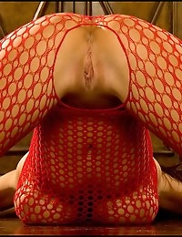 Big Tits Fox in Red Fishnet Bodystocking n Crotchless
