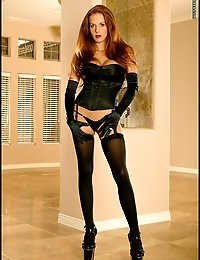 Redhead Long Legs Corset and Stockings