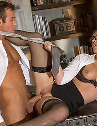 Maddy's boss may be handsome and sharp as a tack, but he's so shy and reserved. She's tried everything to entice him and tease him with peeks at her stockings and bod, but so far he hasn't taken the bait. If Maddy wants to pierce the icy cool of her Mr. White's reserve, she's going to need to hike up her skirt and waggle her plump butt, or go a step further and dip one of her breasts in his mouth. Finally, Mr. White jumped on the chance to bed his secretary, and his cock stood stiffly at attention. Lying across her boss's desk, Maddy wrapped her mouth around his cock, sucking it tip to tail while she tugged the shaft. Fulfilling a fantasy she had from day one on the job, Maddy got on all fours while Chad thrust into her from behind, pulling him deeper and deeper into her. Switching things up, Maddy sat on Chad's lap, and rode his dick until her hips bucked with the blissful feeling of orgasm.