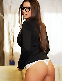 Abigail Mac all business minded and cannot wait to tear off her glasses and get busy.
