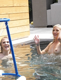Horny college students blow off some steam in the swimming pool and end up fucking each other