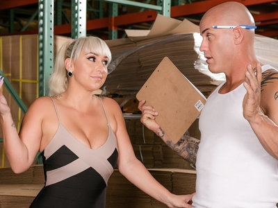 Slutty wife Nina Kayy fucked in the warehouse by a worker.