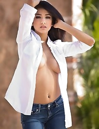 Megan Salinas rips off her shirt and deep blue jeans - Digital Desire photo #4