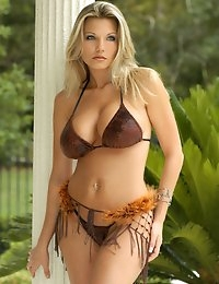 Barbie Griffin from Glamour Models Gone Bad - Busty blonde takes off her bikini out by the pool photo #2