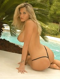 Barbie Griffin from Glamour Models Gone Bad - Busty blonde takes off her bikini out by the pool photo #8